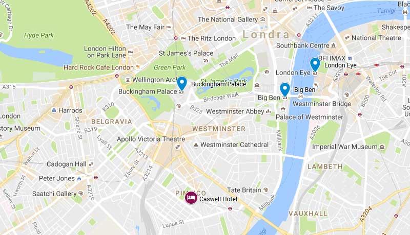 Mappa Caswell Hotel London Victoria