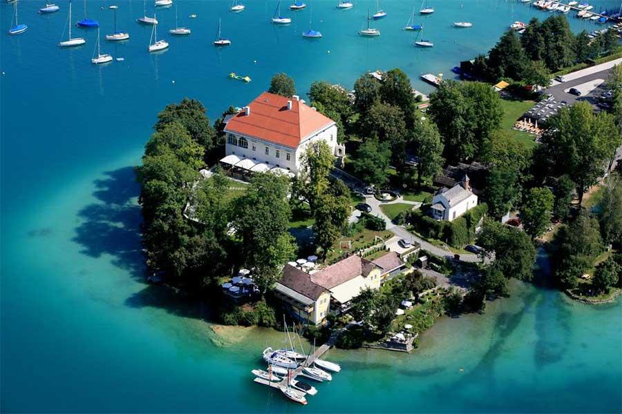 Klagenfurt - Lago Wörthersee il più grande lago della Carinzia - Penisola Maria Loretto