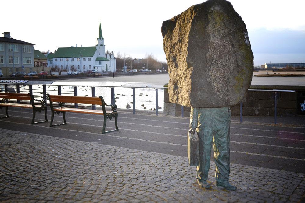 Scultura in pietra mezzo busto uomo